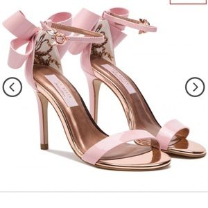 NWOB Ted Baker Pink Sandalo Bow Heels Leather 7